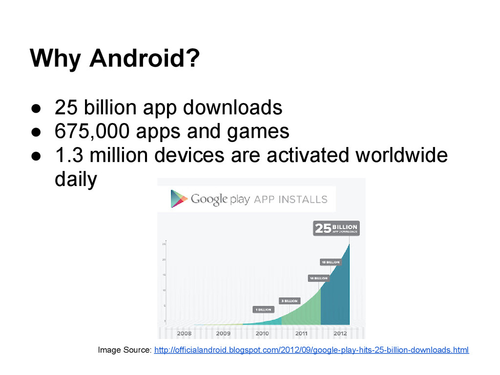 Why Android? ● 25 billion app downloads ● 675,0...