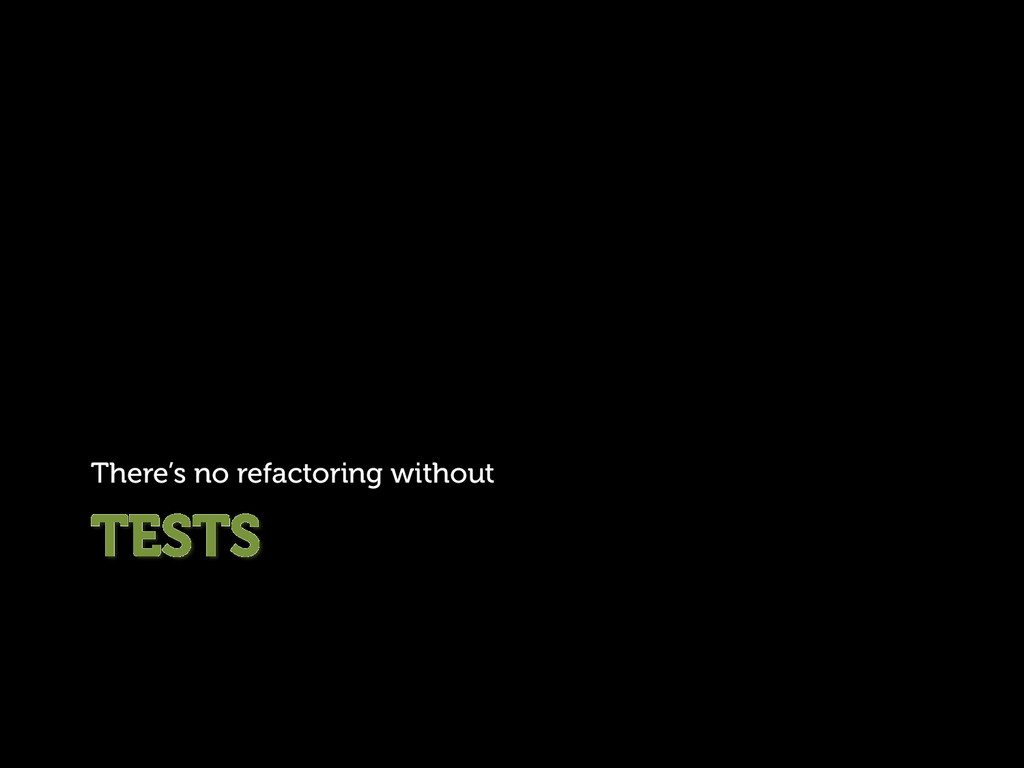 TESTS There's no refactoring without