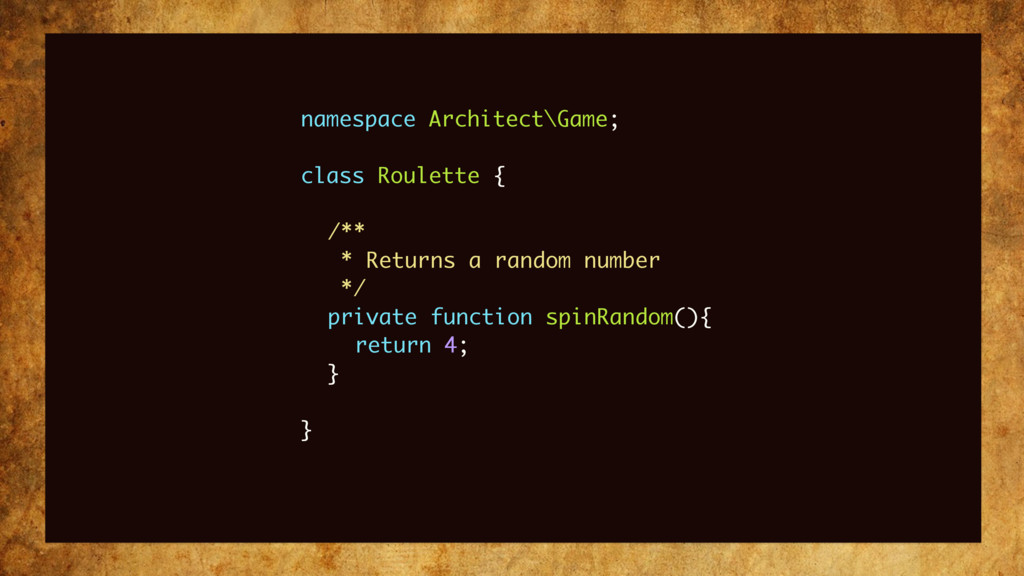 namespace Architect\Game; class Roulette { /** ...