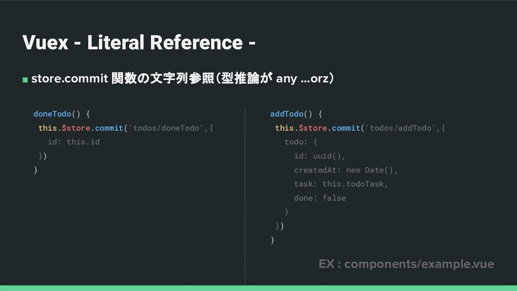 Vuex - Literal Reference - ■ store.commit 関数の文字...