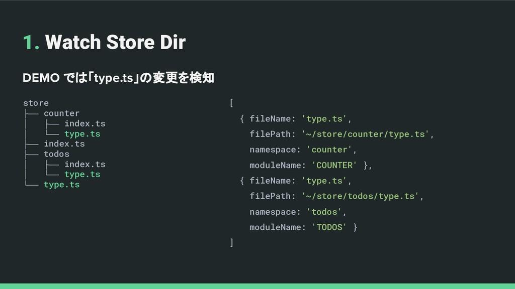 1. Watch Store Dir DEMO では「type.ts」の変更を検知 store...