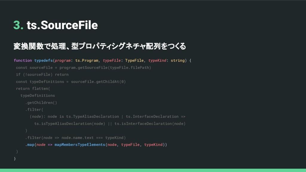 3. ts.SourceFile 変換関数で処理、型プロパティシグネチャ配列をつくる func...