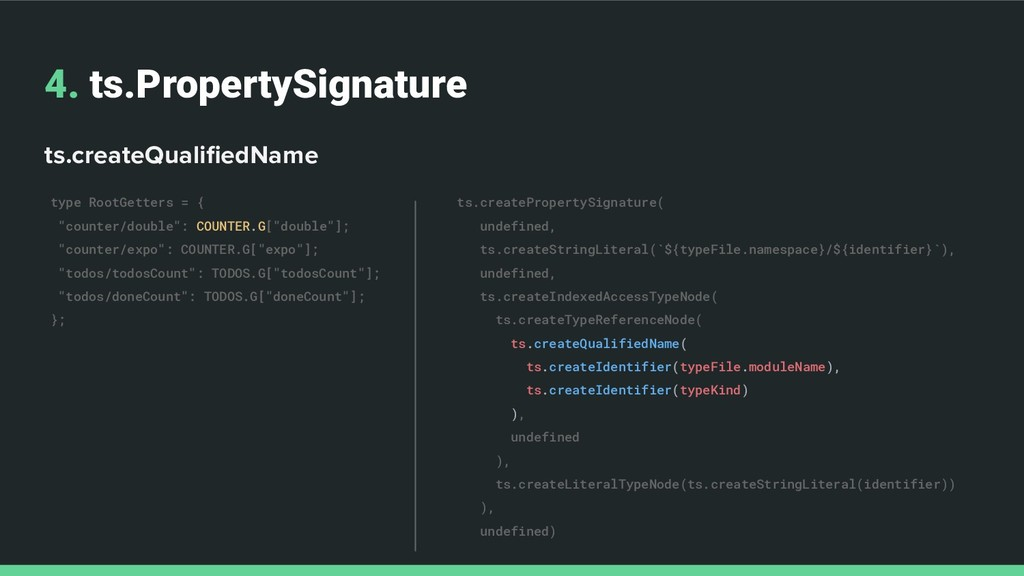 4. ts.PropertySignature ts.createQualifiedName t...