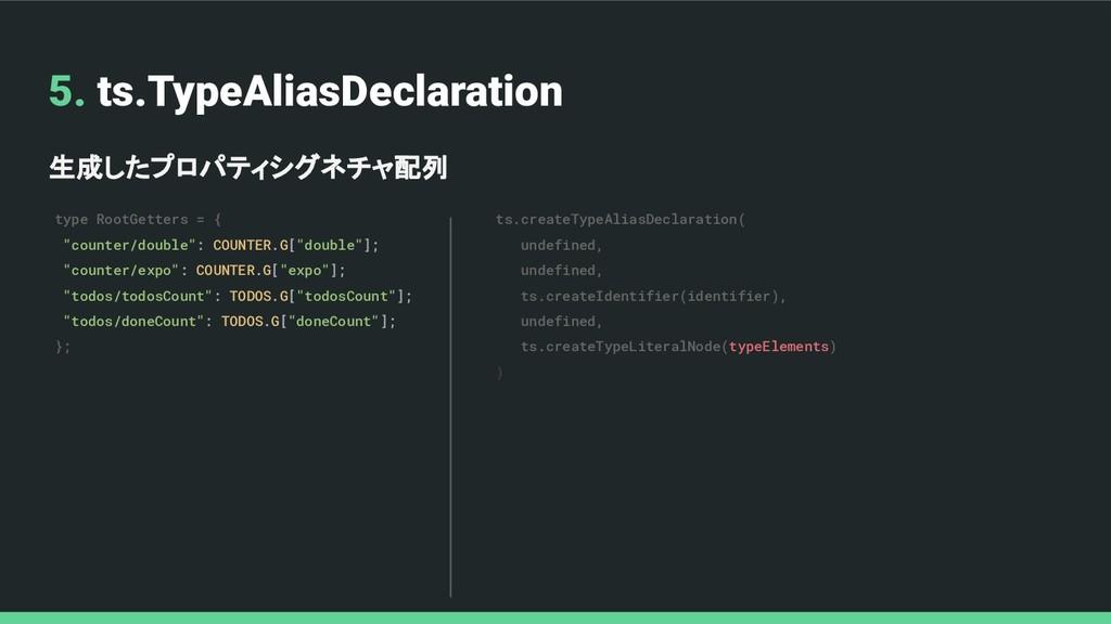 5. ts.TypeAliasDeclaration 生成したプロパティシグネチャ配列 typ...