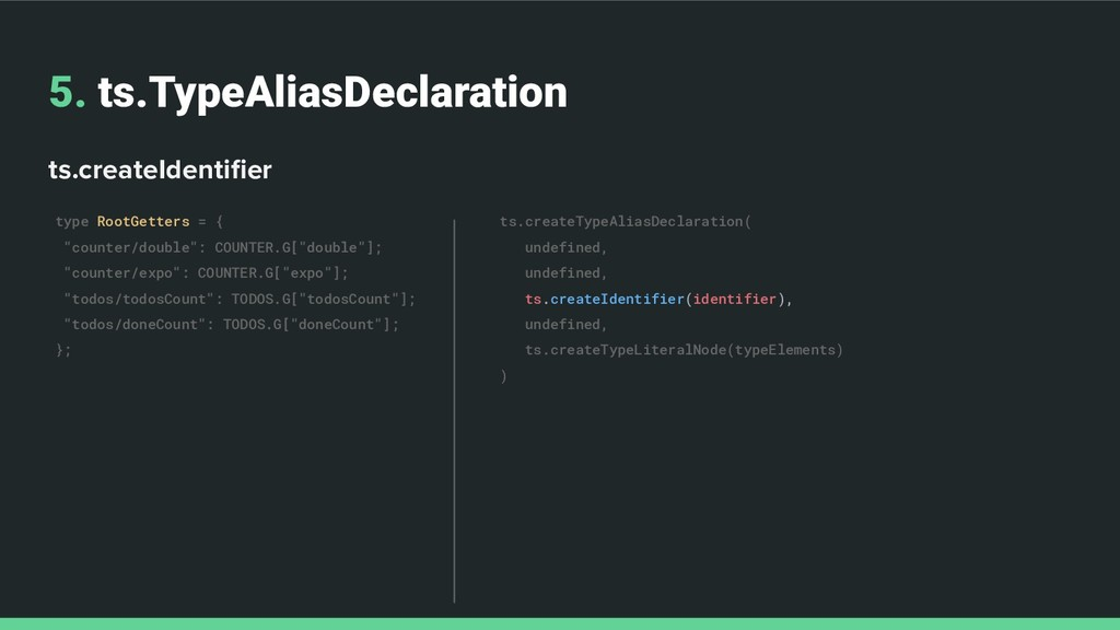 5. ts.TypeAliasDeclaration ts.createIdentifier t...