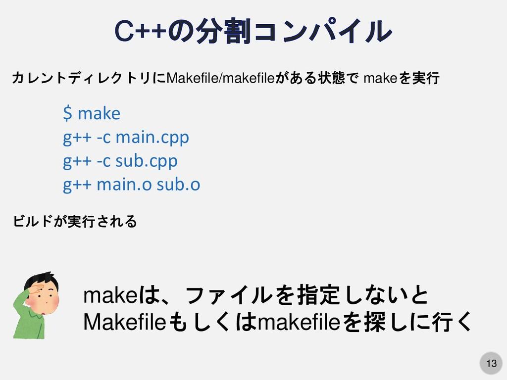 13 カレントディレクトリにMakefile/makefileがある状態で makeを実行 $...