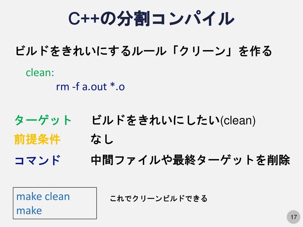 17 ビルドをきれいにするルール「クリーン」を作る clean: rm -f a.out *....