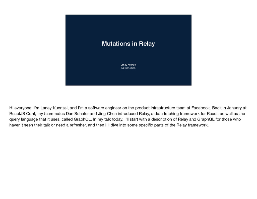 Mutations in Relay Laney Kuenzel May 27, 2015 H...