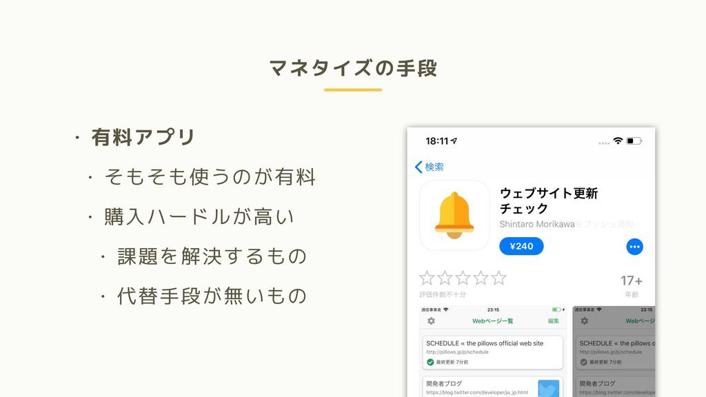 マネタイズの手段 • 有料アプリ • そもそも使うのが有料 • 購入ハードルが高い • 課題を...