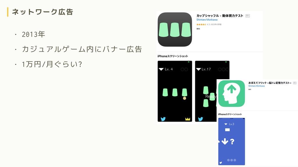 ネットワーク広告 • 2013年 • カジュアルゲーム内にバナー広告 • 1万円/月ぐらい?