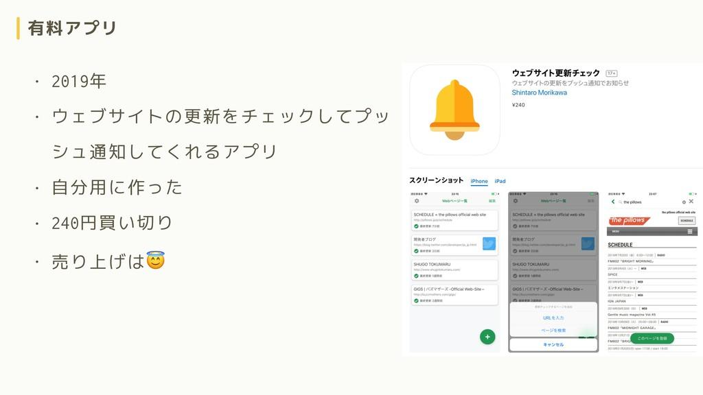 有料アプリ • 2019年 • ウェブサイトの更新をチェックしてプッ シュ通知してくれるアプリ...