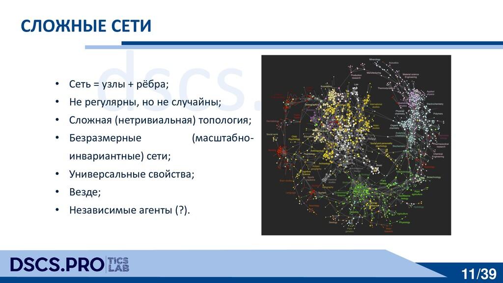 dscs.pro 11/39 СЛОЖНЫЕ СЕТИ • Сеть = узлы + рёб...