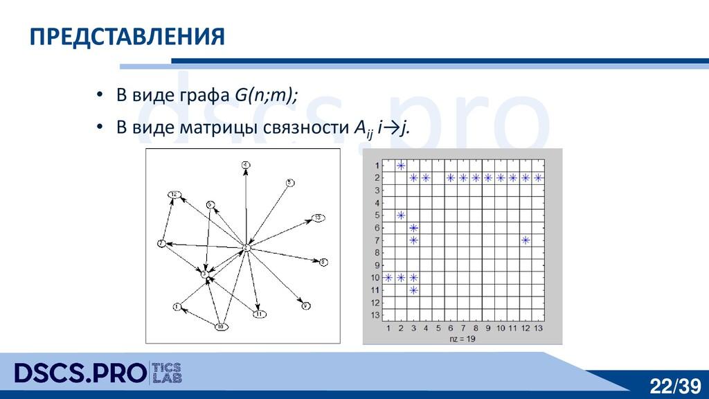 dscs.pro 22/39 ПРЕДСТАВЛЕНИЯ • В виде графа G(n...