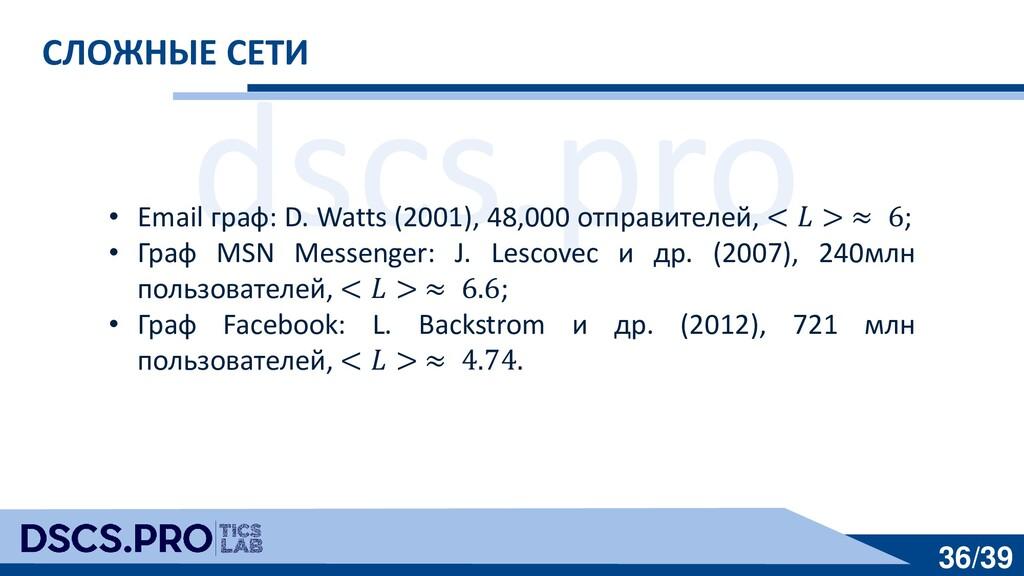 dscs.pro 36/39 СЛОЖНЫЕ СЕТИ • Email граф: D. Wa...