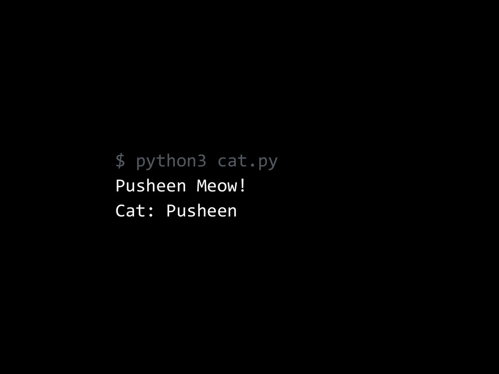 $  python3  cat.py   Pusheen  Meow!   Cat:  Pus...