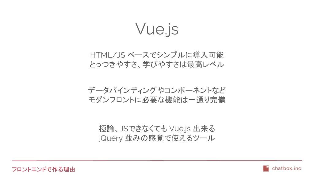 フロントエンドで作る理由 Vue.js HTML/JS ベースでシンプルに導入可能 とっつきや...