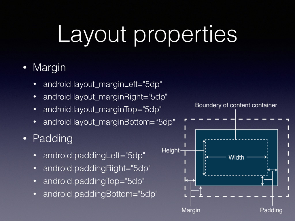 Layout properties • Margin • android:layout_mar...