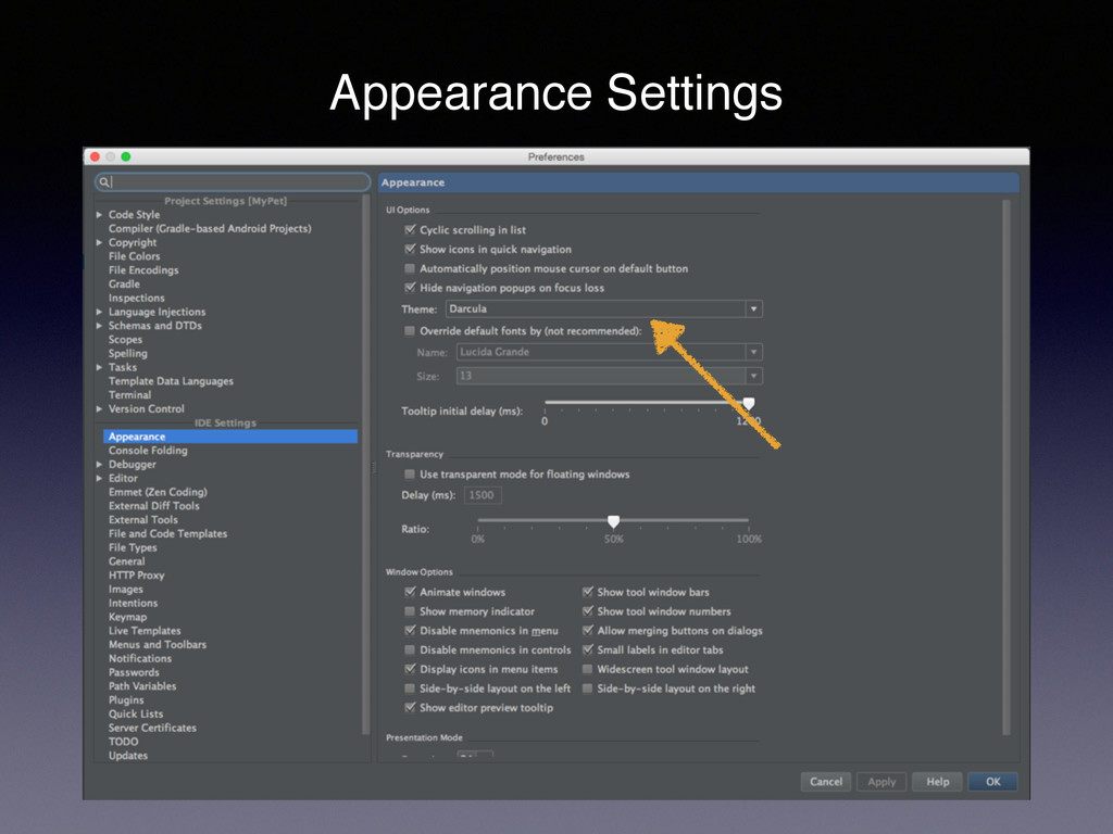 Appearance Settings