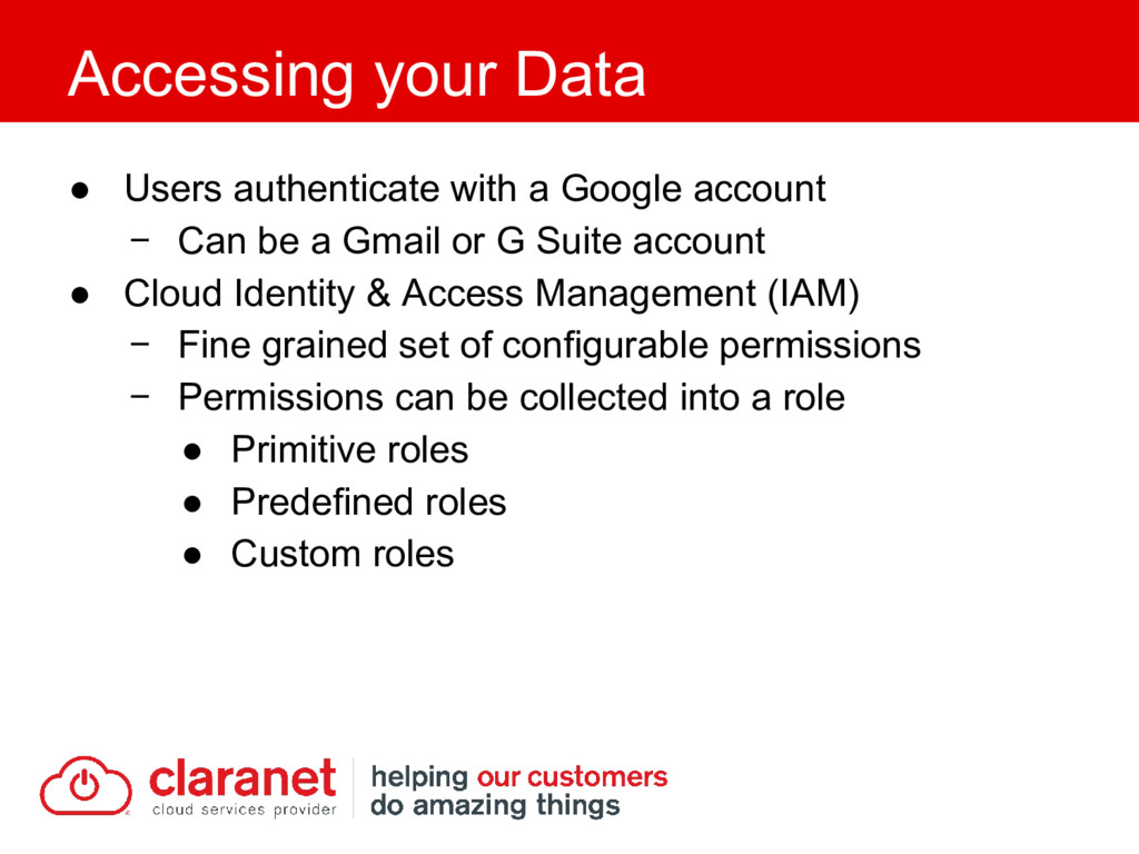 ● Users authenticate with a Google account − Ca...