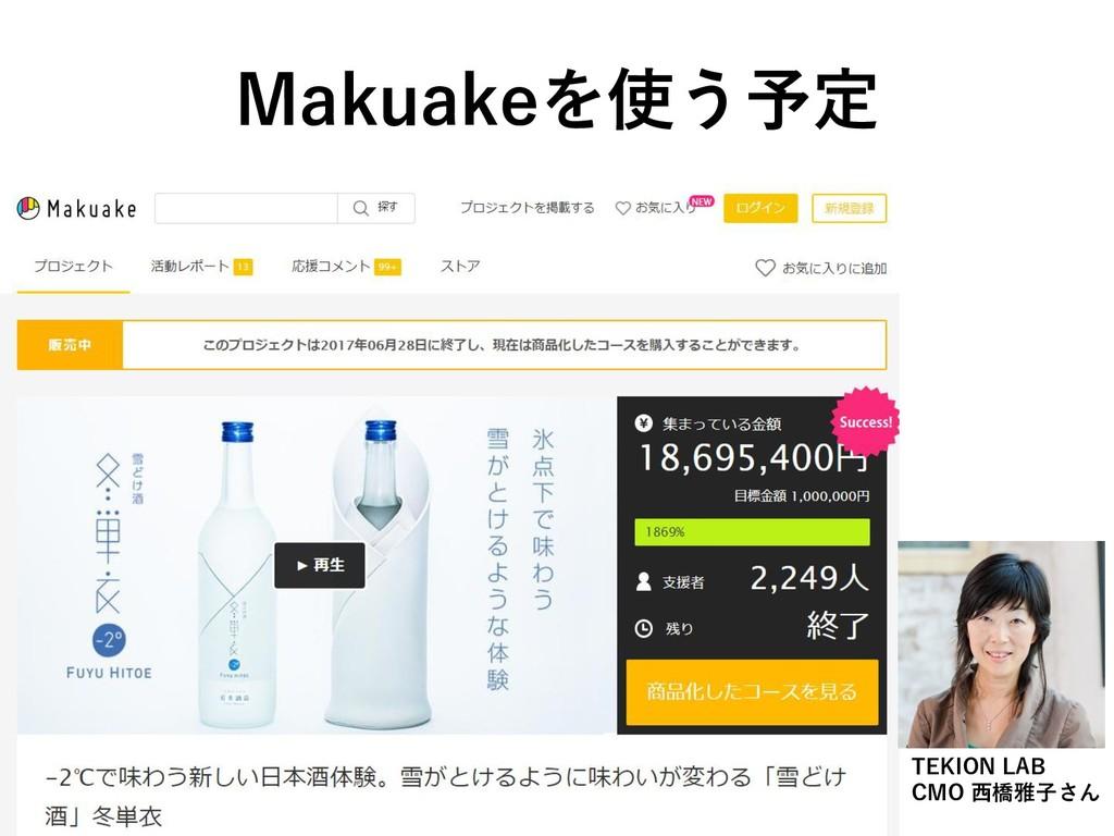 Makuakeを使う予定 TEKION LAB CMO 西橋雅子さん