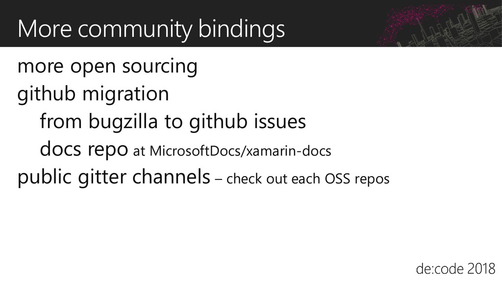 More community bindings more open sourcing gith...