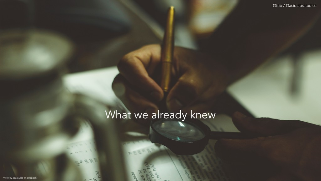 What we already knew Photo by João Silas on Uns...