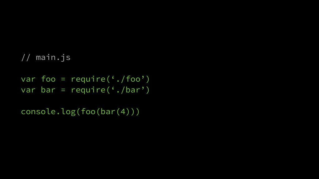 // main.js ! var foo = require('./foo') var bar...