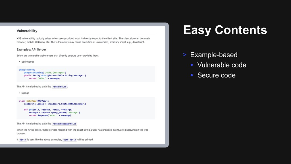 Easy Contents > Example-based • Vulnerable code...