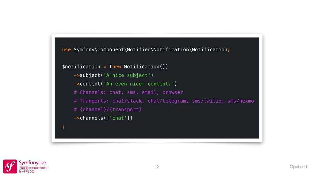 @jschaedl 12 use Symfony\Component\Notifier\Not...