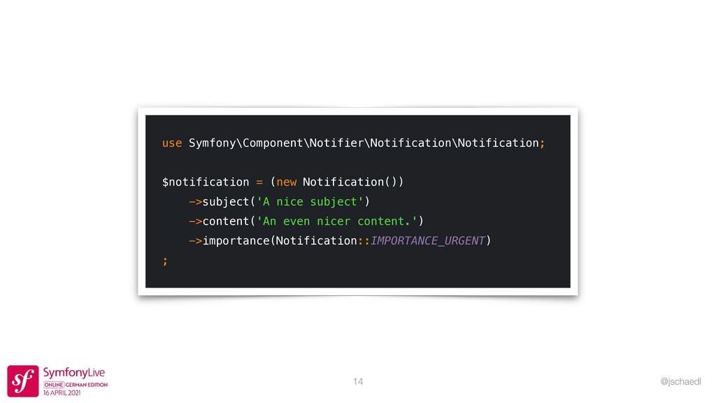 @jschaedl 14 use Symfony\Component\Notifier\Not...