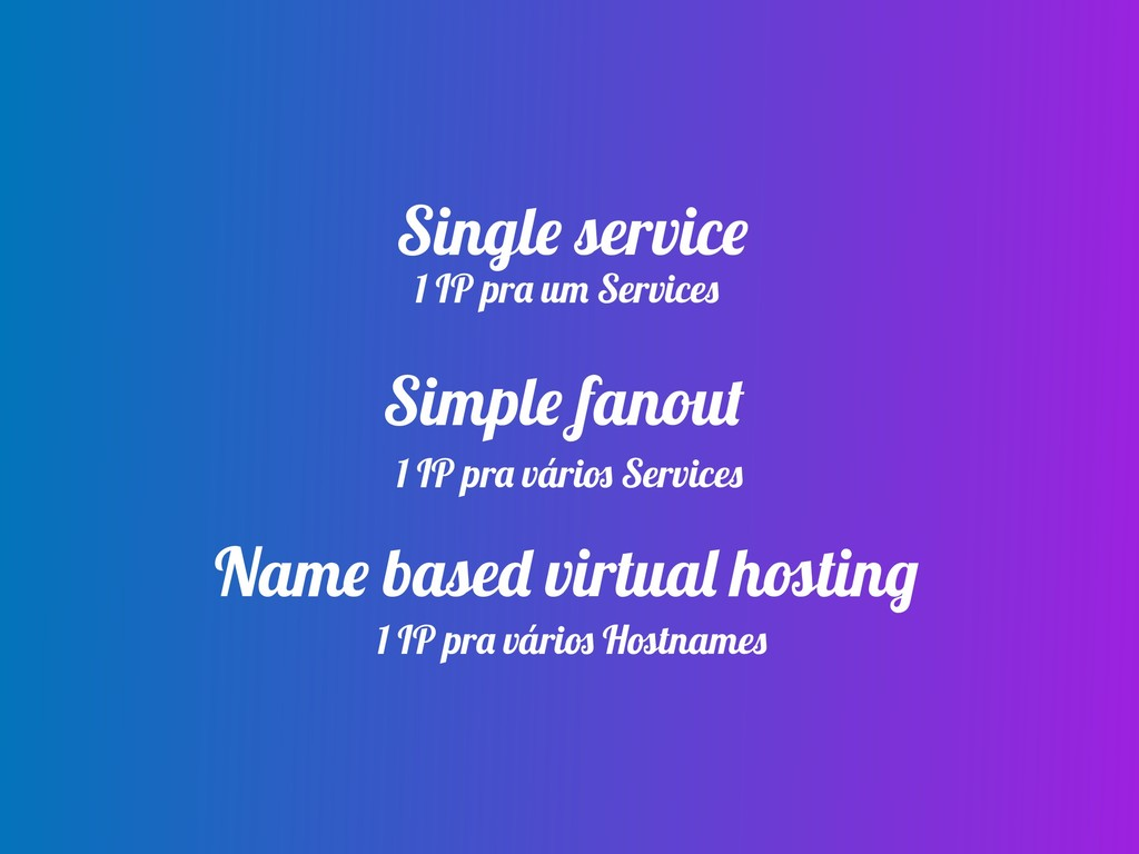 Single service Simple fanout Name based virtual...