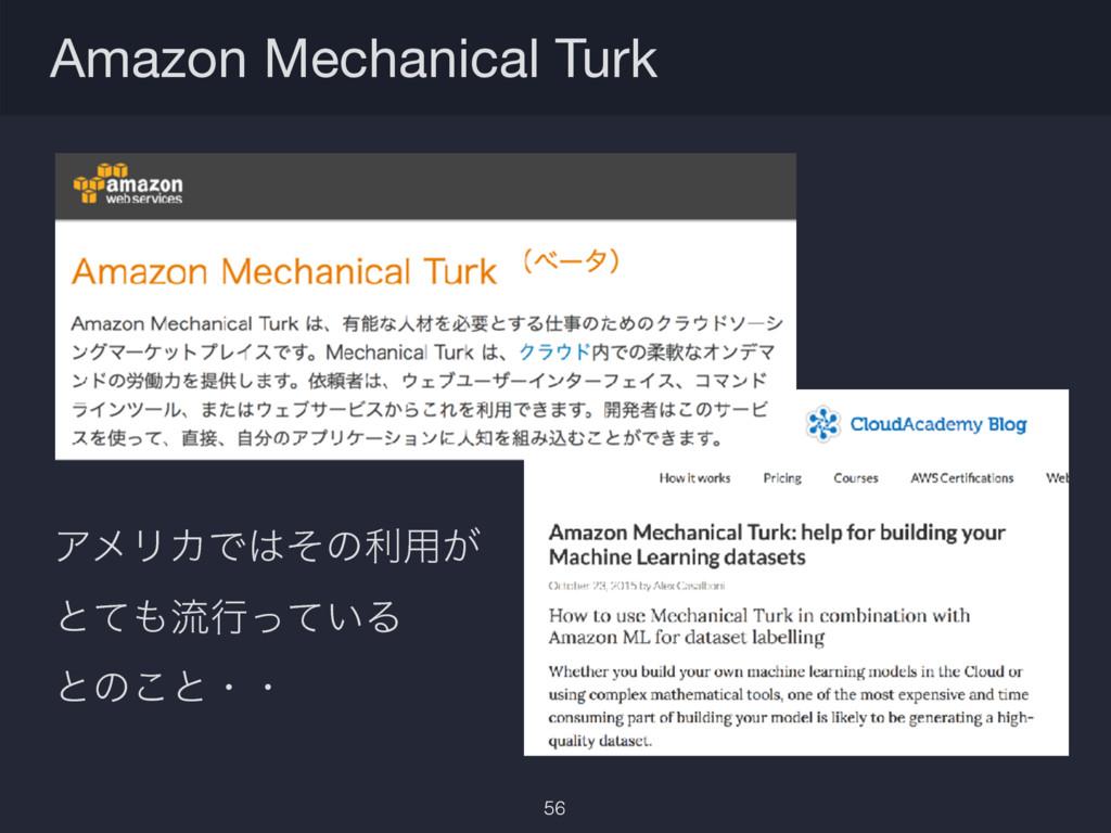 Amazon Mechanical Turk 56 ΞϝϦΧͰͦͷར༻͕ ͱͯྲྀߦ͍ͬͯΔ...