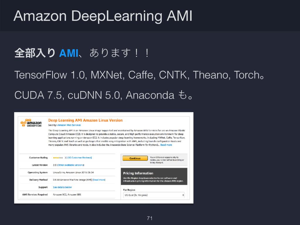 Amazon DeepLearning AMI 71 શ෦ೖΓ AMIɺ͋Γ·͢ʂʂ Tens...