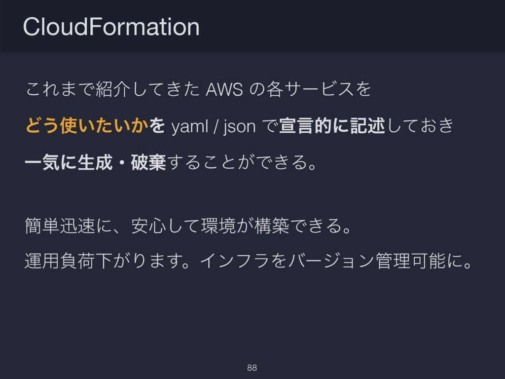 ͜Ε·Ͱհ͖ͯͨ͠ AWS ͷ֤αʔϏεΛ Ͳ͏͍͍͔ͨΛ yaml / json Ͱએݴ...