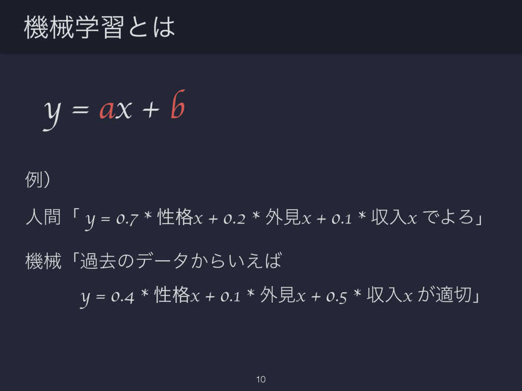 y = ax + b ྫʣ ਓؒʮ y = 0.7 * ੑ֨x + 0.2 * ֎ݟx + 0...