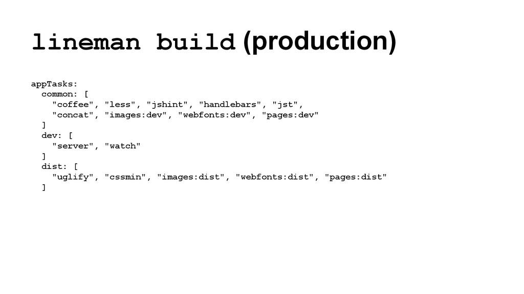 lineman build (production) appTasks: common: [ ...