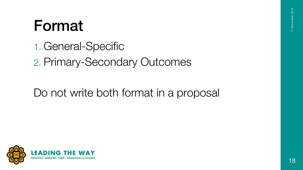 Format 1. General-Specific 2. Primary-Secondary...