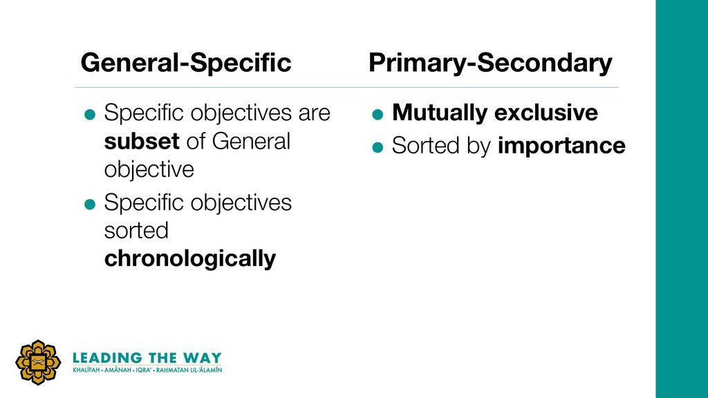 General-Specific = Specific objectives are subs...