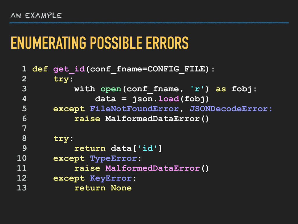 AN EXAMPLE 1 def get_id(conf_fname=CONFIG_FILE)...
