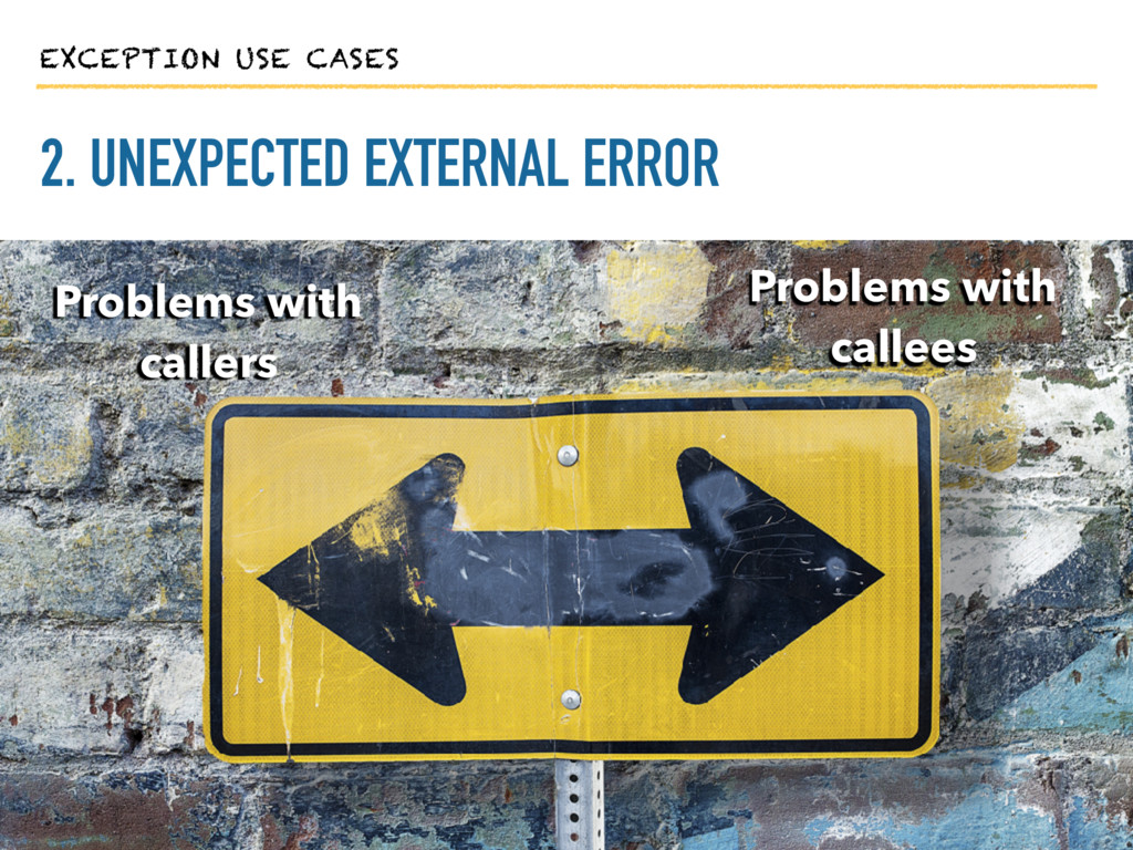 EXCEPTION USE CASES 2. UNEXPECTED EXTERNAL ERRO...