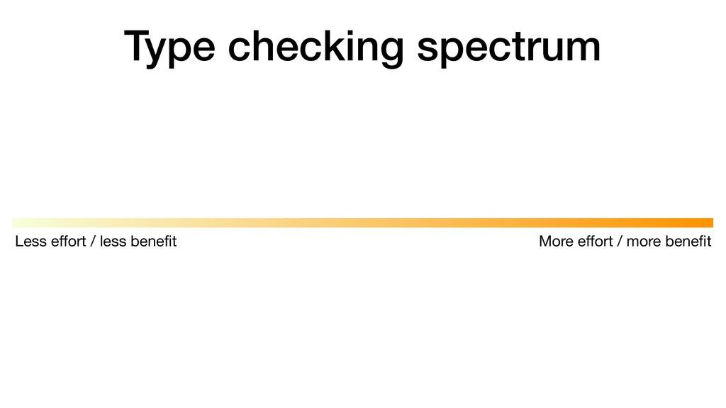 Type checking spectrum More effort / more benefit...