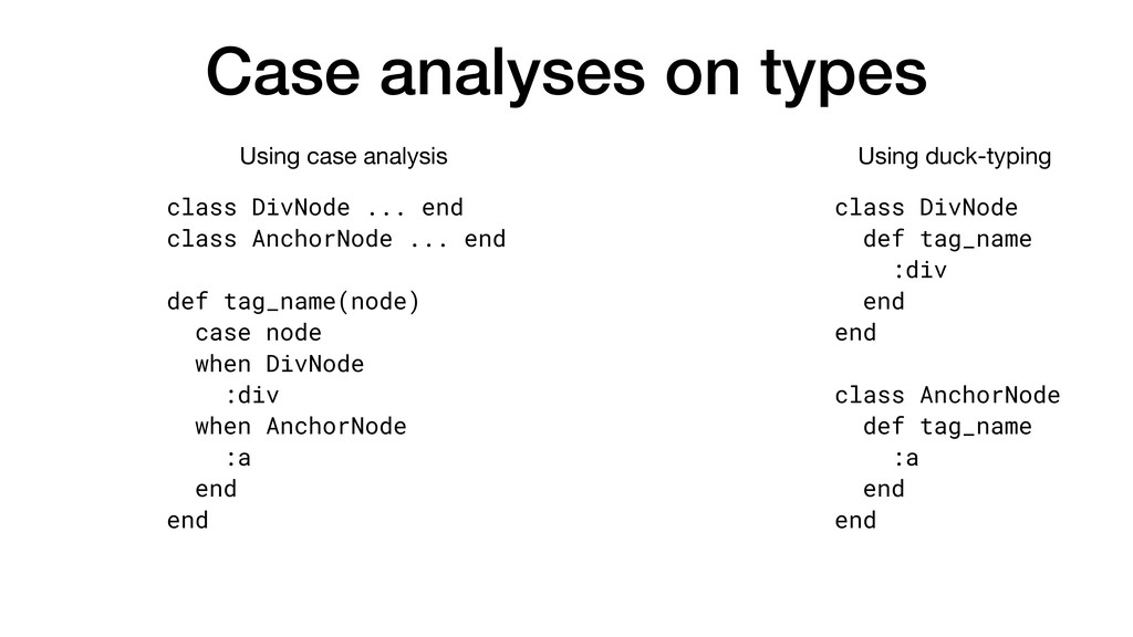 Case analyses on types class DivNode ... end cl...