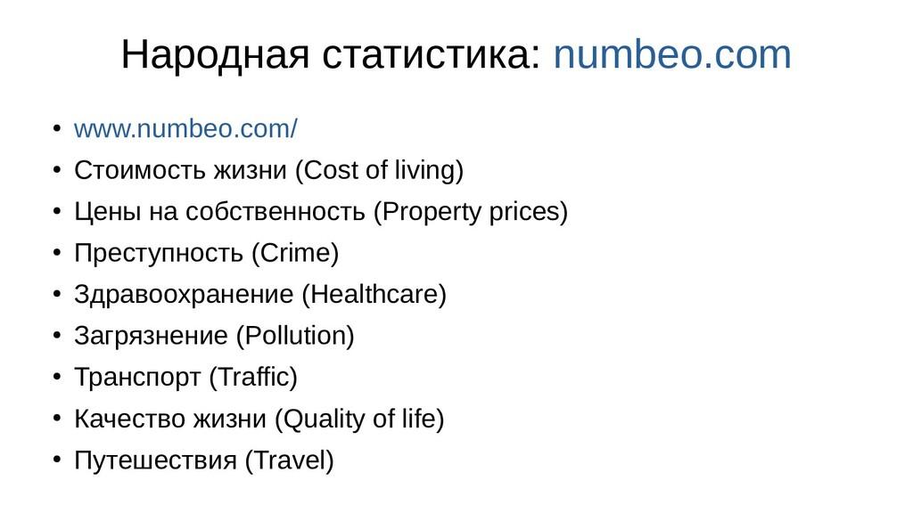Народная статистика: numbeo.com ● www.numbeo.co...