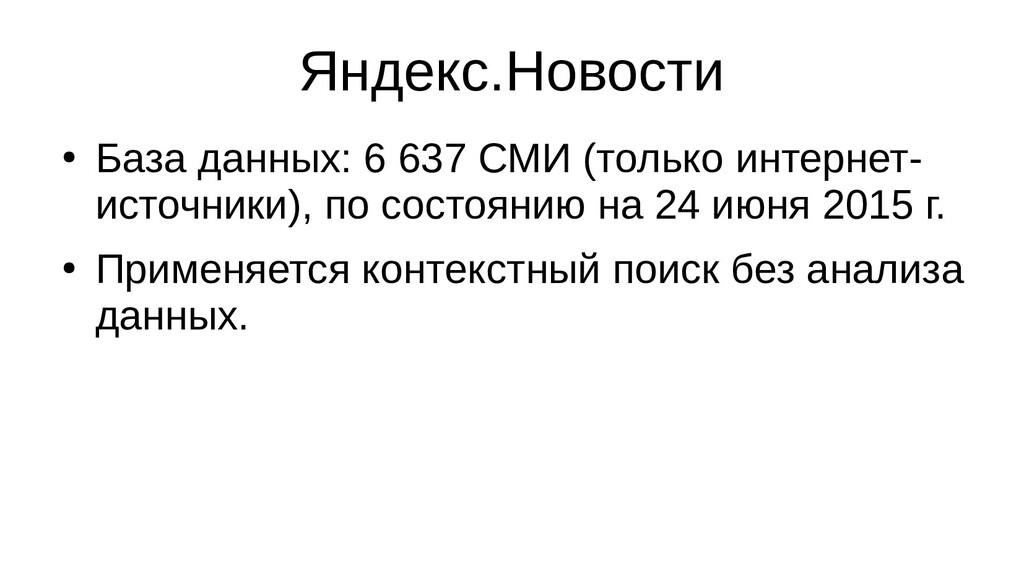 Яндекс.Новости ● База данных: 6 637 СМИ (только...