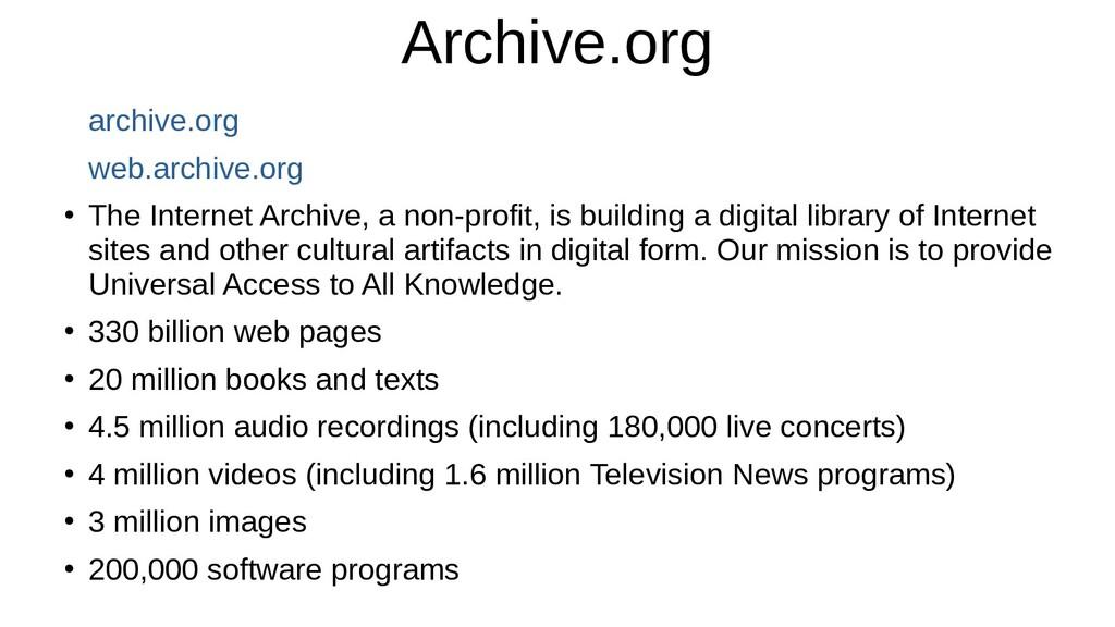 Archive.org archive.org web.archive.org ● The I...