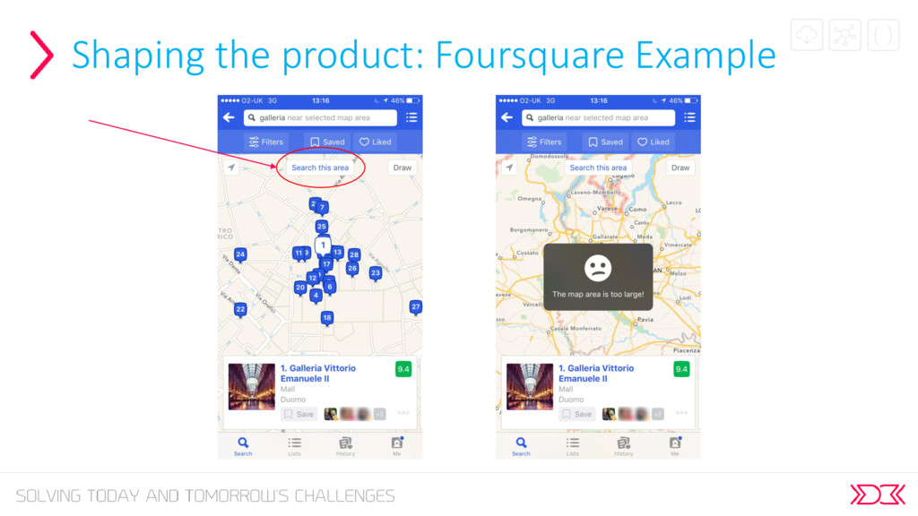 Shaping the product: Foursquare Example