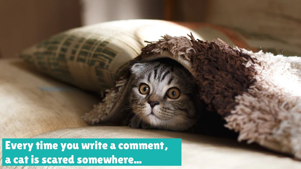 Every time you write a comment, a cat is scared...