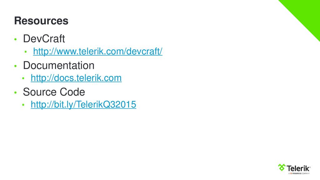 Resources • DevCraft • http://www.telerik.com/d...