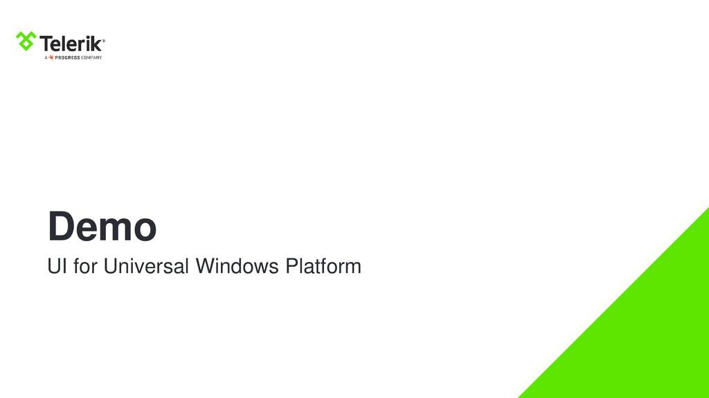 Demo UI for Universal Windows Platform