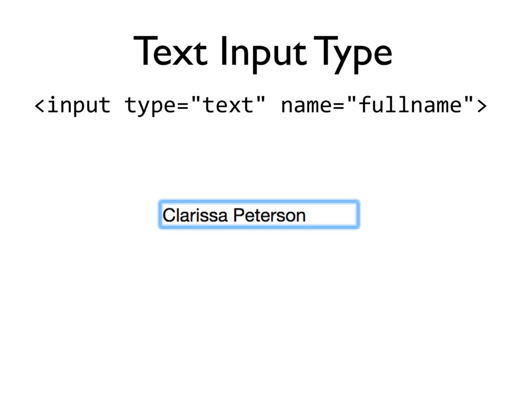 """<input'type=""""text""""'name=""""fullname""""> Text Input ..."""